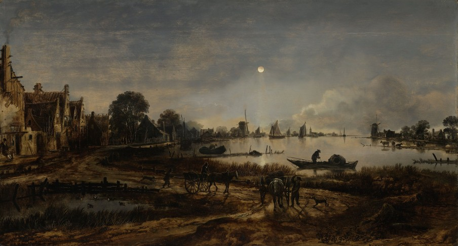 River View by Moonlight, Aert van der Neer, c. 1640 - c. 1650. Image courtesy of the Rijksmuseum