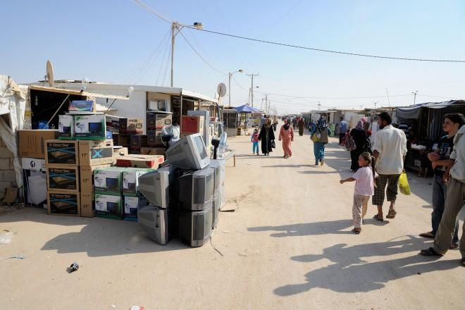 De 'Champs-Élysées' van vluchtelingenkamp Al-Za'atari. Foto: Thijs Heslenfeld