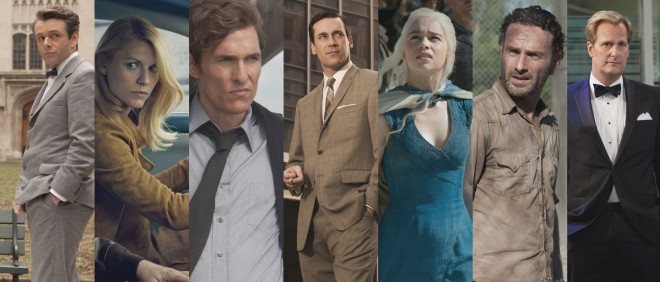 Van links naar rechts: Masters of Sex, Homeland, True Detective, Mad Man, Game of Thrones, The Walking Dead, The Newsroom