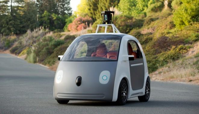 Het prototype van Google's zelfrijdende auto.