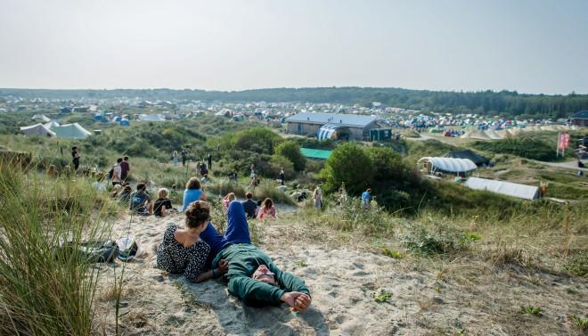 Camping Stortemelk zoals het er gisteren (05-09-2014) uitzag op de eerste dag van het festival 'Into The Great Wide Open' op Vlieland. Foto: Ferdy Damman/ANP