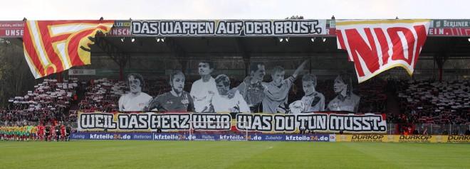 Een ludieke actie van de supporters van 1. FC Union Berlin in het stadion van de club (16 april 2012). Foto: Frank Sorge/Hollandse Hoogte