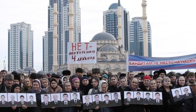 4 december 2014, protest in Grozny tegen terrorisme. Foto: Yelena Afonina/TASS