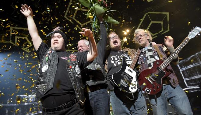 De Finse band Pertti Kurikan Nimipäivät (PKN) tijdens een repetitie van het Eurovisiesongfestival. Foto: Lehtikuva Markku Ulander/Hollandse Hoogte