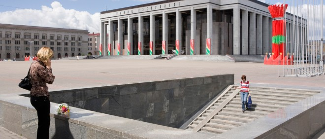 Het Paleis van de Republiek op het Oktoberplein in de Wit-Russische hoofdstad Minsk. Foto: Nick Hannes/Hollandse Hoogte