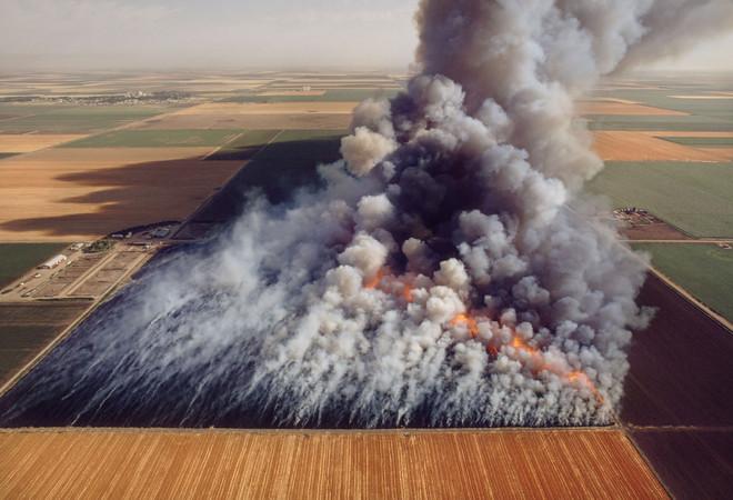 Het overgebleven koren en stro wat op het agrarische veld is achtergebleven nadat het koren geoogst (genus Triticum aestivum) wordt verbrand.Door het vuur worden ongewenste insecten en onkruid vernietigd en het is minder duur dan het spuiten van pesticides. Beeld: Getty Images
