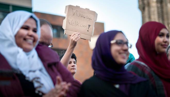 Tijdens de manifestatie 'Vluchtelingen Welkom!' in Groningen, september vorig jaar. Foto: Kees van de Veen / HH