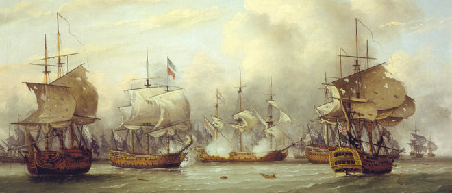 Vierde Engels-Nederlandse zeeoorlog, Battle of Dogger Bank, 5 augustus 1781. Foto:  DeAgostini / Getty Images