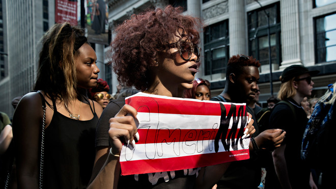 Een demonstratie van leden van de Black Lives Matter Chicago Youth (#BLMchiYouth) tegen politiegeweld op 11 juli 2016 in Illinois. Foto: Nima Taradji / Hollandse Hoogte