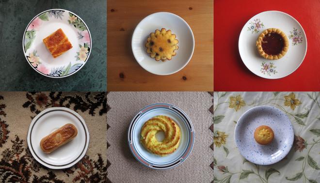 Thuiszorgmedewerker Peter Hermanides fotografeerde bij zijn cliënten de koekjes die hij aangeboden kreeg bij de koffie. Een stuk boterkoek, rozijnencakeje, aardbeienkoek, kano, kokosmacroon en een cupcake.