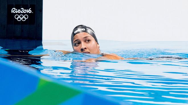 Ranomi Kromowidjojo na de finale 100 meter vrij zwemmen in het Olympic Aquatics Stadium tijdens de Olympische Spelen van Rio. Foto: Robin Utrecht / ANP