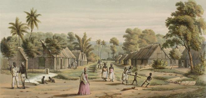 'Suriname. Een plantaadge slavenkamp.' Beeld: Jacob Eduard van Heemskerck van Beest / Rijksmuseum