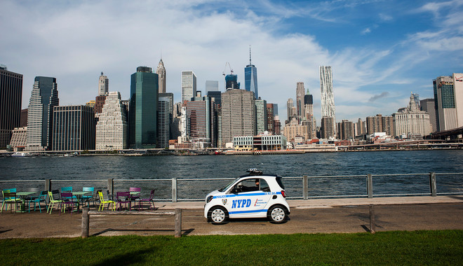 Een NYPD-smart in New York City op 23 oktober, 2016. Foto: Christian Hansen / Hollandse Hoogte