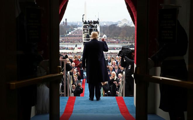 Trump voorafgaand aan zijn inauguratietoespraak in Washington. Foto: Win McNamee / AP