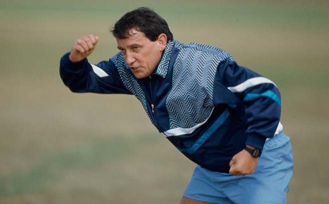 Graham Taylor tijdens een training in 1992. Foto: Bob Thomas / Getty Images