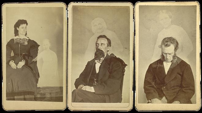 Mrs. Tinkham, John J. Glover en Bronson Murray zijn met hun geest geportretteerd tussen 1862 en 1875 door William H. Mumler. Foto's: J. Paul Getty Museum