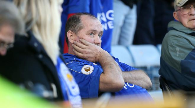 Een teleurgestelde Leicester City fan, na het verlies van derdedivisionist Millwall in de FA Cup. Foto: Plumb Images / Leicester City FC via Getty Images
