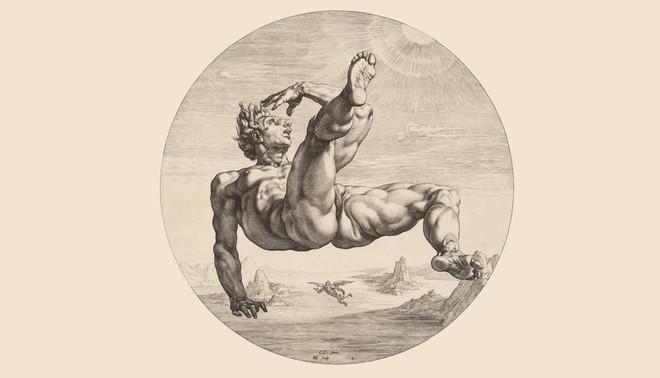 Icarus  naar Cornelis Cornelisz. van Haarlem, 1588. Tekening: Hendrick Goltzius / Rijksmuseum