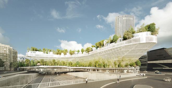 Een digitale render van Mille Arbres (duizend bomen) in Parijs. Beeld: SFA / OXO / MORPH