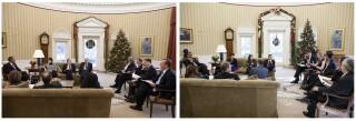 Het meest uitbundige moment van het jaar. Foto's: Pete Souza/the White House