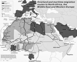Op deze kaart zijn alle routes te zien van migranten op weg naar Europa. Bron: Hein de Haas / http://heindehaas.blogspot.com