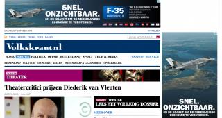 Bovenin en rechts: een advertentie voor de JSF op de site van de Volkskrant.