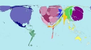 Deze kaart laat zien welke landen het rijkste zijn (het grootste bbp hebben). Hoe groter een land op de kaart wordt weergegeven, hoe rijker het is. De cijfers zijn van 2002. © Copyright Sasi Group (University of Sheffield)