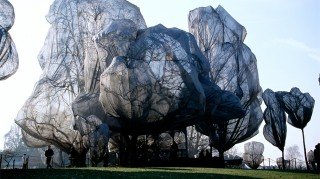 Wrapped Trees in het Beyeler and Berower Park in Riehen (Zwitserland), ingepakt door Christo in 1998. Foto: Hollandse Hoogte