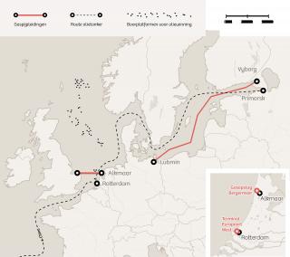 De route van de Russische olie via Rotterdam. Illustratie: Momkai
