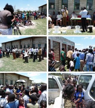 Z Kids verslaggevers maken een reportage over nieuwe toiletpotten, die in de sloppenwijken van Lusaka worden aangeboden door de regeringspartij. Foto's: Janneke van Riel