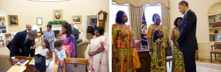 Kinderen kunnen de redding zijn in een wat ongemakkelijke situatie. Vaak is het contact dat Obama heeft met kinderen het enige dat wordt gedeeld van dit soort ontmoetingen in the Oval Office. Foto's: Pete Souza/the White House