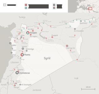 Augustus 2013. Wat is bezet en wat is onbezet gebied? Ook is te zien waar de Koerden zich in de strijd mengen tegen radicale islamisten. Bron: Political Geography Now. Illustratie: Momkai