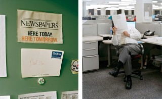 Links: 'Here Today. Here Tomorrow, 9:07 pm, 2011'. Rechts: 'New Orleans Clamor For Its Paper, 4:42 pm, 2012'. Foto's: Will Steacy