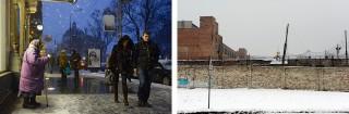 Links: straatbeeld Lviv, met op de achtergrond het Weens aandoende operagebouw. Rechts: Janovska, dwangarbeiders- en concentratiekamp in Lviv, nu in gebruik als gevangenis. Foto?s: Dolph Kessler