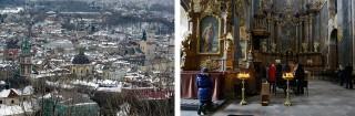Links: de binnenstad van Lviv. Rechts: Een voormalige Roomse kerk in Lviv, nu een Grieks-Katholieke kerk. Foto's: Dolph Kessler