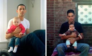 Links: Arif & Ilayda. Rechts: Charlie & Jaden. Uit de fotoserie 'Nieuwe Vaders'. Foto's: Rob Philip