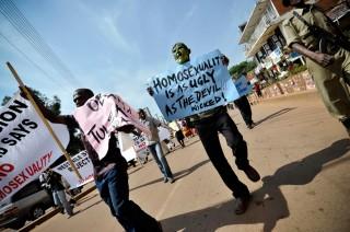 Een anti-homodemonstratie in de Oegandese hoofdstad Kampala. Foto: Marc Hofer/Hollandse Hoogte