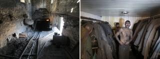 Links: De ingang van een mijn. Rechts: De mijnwerker Bogdan Gegorjev na zijn werk. Foto's: Floris Akkerman