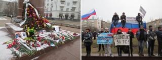 Links: Bloemen, kaarsen en foto's van de omgekomen revolutionairen in Kiev bij het standbeeld van de Oekraïense dichter Taras Sjevtsjenko. Rechts: Pro-Rusland demonstratie in Donetsk. Foto's: Floris Akkerman