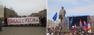 Links en rechts: Een pro-Ruslanddemonstratie in de oost-Oekraïense stad Donetsk. Foto's: Floris Akkerman