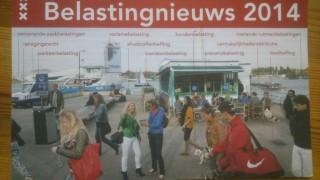 Op weg naar onze redactie - het gebouw tussen de afvalstoffenheffing en de toeristenbelasting - kom je elf belastingposten tegen, blijkt uit deze foto in een brochure van de Gemeente Amsterdam.