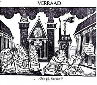 Een spotprent uit het lesboek geschiedenis.