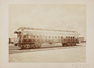 Carleton E. Watkins: American sleeping wagon on the Union Pacific Rail Road (Route to California). Verenigde Staten, 1861-1873. Albuminedruk. Beeld: Nederlands Fotomuseum