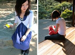 Links: Aya Yagita, . Rechts: ook in Ritsurin k?en, een van de mooiste landschapstuinen van Japan. Foto's: Auke Hulst