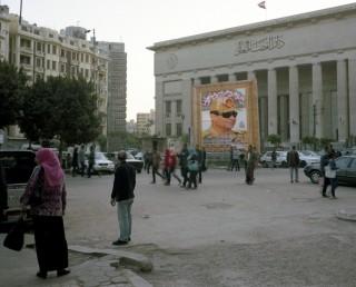 Portret van Sisi voor het gerechtsgebouw in Caïro. Foto: Mark Nozeman