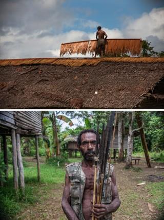 Boven: een vluchteling repareert het dak van zijn huis. Onder: een pijl en boog waarmee vluchtelingen in de jungle jagen. Foto's: Andreas Stahl