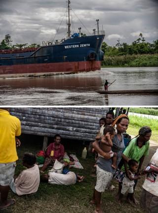 Boven: een schip van de Ok Tedi-kopermijn vaart voorbij over de Fly-rivier. Onder: vluchtelingen in het OPM trainingskamp in de jungle tussen Papoea-Nieuw-Guinea en West-Papoea. Foto's: Andreas Stahl