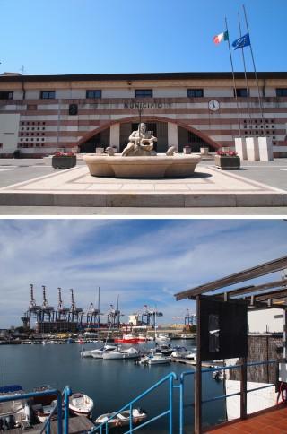 Boven: Gemeentehuis San Ferdinando - gemeente waar grootste deel van de haven aan grenst. Onder: Het mededelingenbord bij de burgerhaven in Gioia Tauro is leeg - op de achtergrond de havenkranen van de containerhaven. Foto's: Sanne de Boer