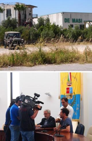 Boven: Het kantoor en de loods van De Masi met legerwagen. Onder: Lokale Italiaanse pers interviewt de Griekse delegatie. Foto's: Sanne de Boer