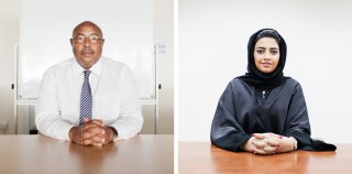 Links: Soliman Daud van UNHCR in Dubai. Rechts: Shaima Al-Zarooni, CEO van de IHC in Dubai. Foto's: Pieter van den Boogert